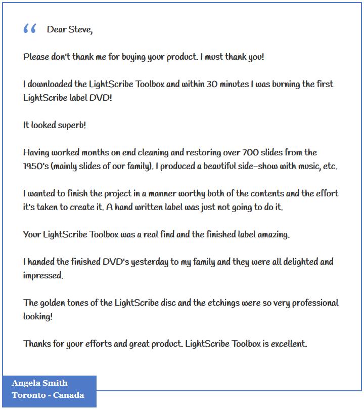 LightScribe Toolbox Testimonial Angela