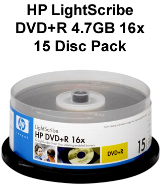 HP LightScribe DVD 15 Disc Pack